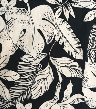 Cotton Shirting Fabric-Black & White Tropical Leaves