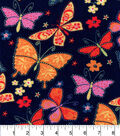 Snuggle Flannel Fabric -Butterflies Flowers Navy