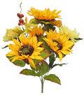 Blooming Autumn 19\u0027\u0027 Sunflower, Mum & Berry Bush-Mustard Yellow