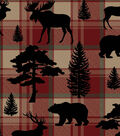 Snuggle Flannel Fabric-Animal Silhouettes on Plaid