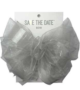 Save the Date 2.5'' Sheer Bow-Light Gray