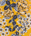 Keepsake Calico Cotton Fabric 43\u0022-Lemon Chrome Floral