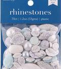 hildie & jo 70 pk 1.2 oz. Assorted Plastic Flat Back Rhinestones-Marble