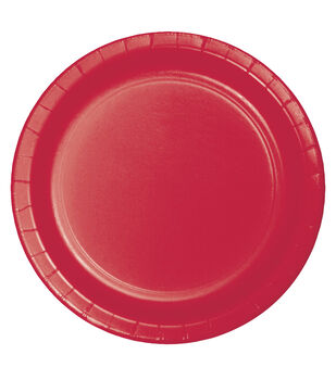 8ct Large Paper Plate-Red