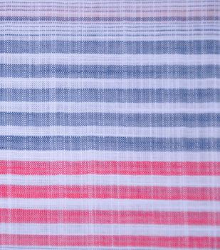 Cotton Fabric 42''-Navy, Red & White Stripe