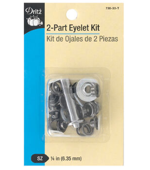 """Dritz 1/4"""" 2-Part Eyelet Kit-Gunmetal"""