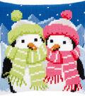 Vervaco 16\u0027\u0027x16\u0027\u0027 Cushion Counted Cross Stitch Kit-Penguins with Scarf