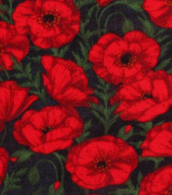 "3 Yard Pre-Cut Anti-Pill Fleece Fabric 59""-Red Poppies Distressed Black"