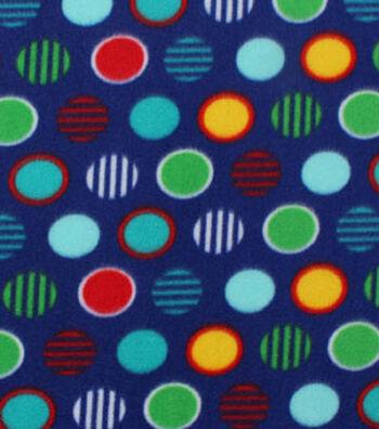 "Blizzard Fleece Fabric 59""-Pattern Dots Navy"
