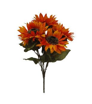 Blooming Autumn 20'' Sunflower Bush with Glittery Center-Orange