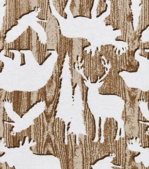 Snuggle Flannel Fabric -Animals on Wood Grain