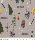 Boy Scout Fleece Fabric 59\u0022-Gray Camp