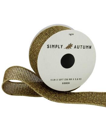 Simply Autumn Metallic Burlap Ribbon 1.5''x12'-Natural & Gold