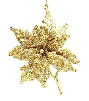 Handmade Holiday Crimson Traditions Glitter Poinsettia Ornament-Gold
