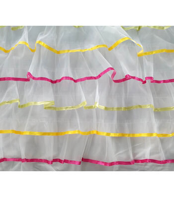 Glitterbug Ribbon Tulle Fabric 50''-Rainbow