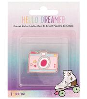 American Crafts Hello Dreamer Camera Adhesive Enamel Sticker, , hi-res