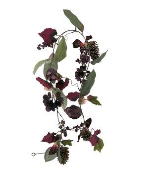 Blooming Autumn Artichoke & Hydrangea Garland-Purple