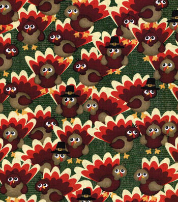 "Autumn Inspirations Cotton Fabric 43""-Watercolor Turkeys"