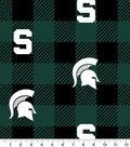Michigan State Spartans Fleece Fabric-Buffalo Plaid