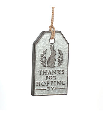 Easter Galvanized Iron Tag Wall Decor-Thanks for Hopping by