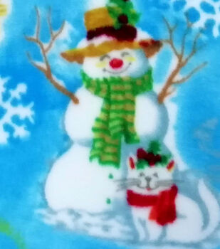 Fleece Fabric -Snowman Sled