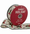 Maker\u0027s Holiday Christmas Ribbon 1.5\u0027\u0027x30\u0027-Glitter Stag Heads on Ivory