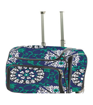 Couture Creations Craft Rolling Travel Trolley-Blue Damask