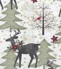 Christmas Cotton Fabric-Holiday Deer In The Woods
