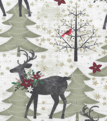 """Christmas Cotton Fabric 43""""-Holiday Deer In The Woods"""