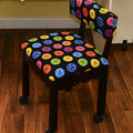 Arrow Black Sewing Chair with Scalloped Base-Buttons on Black