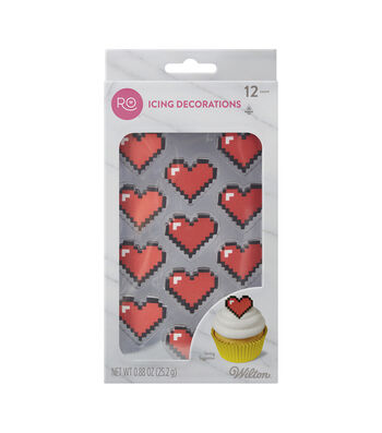 Rosanna Pansino By Wilton 12ct 8-Bit Heart Icing Decorations