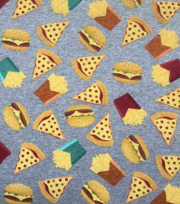 "Doodles Juvenile Interlock Knit Fabric 57""-Pizza & Burgers"