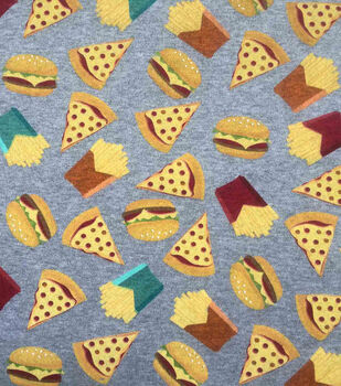 Doodles Juvenile Interlock Knit Fabric 57''-Pizza & Burgers