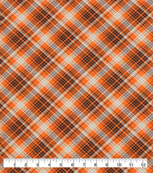 Super Snuggle Flannel Fabric-Kate Orange & Navy Plaid