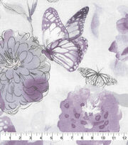 Keepsake Calico Cotton Fabric-Purple Watercolor Butterfly Floral, , hi-res