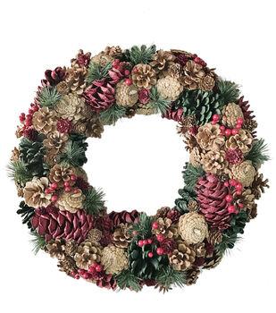 Handmade Holiday Christmas 18.9'' Pinecone Wreath-Multi