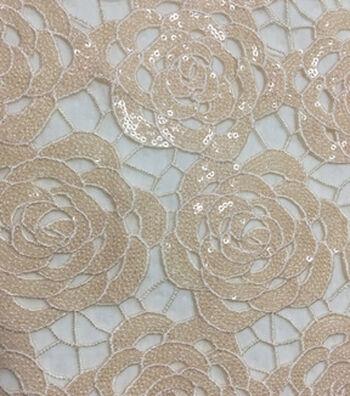 Casa Embellish Gardenia Lace Fabric 49''-Sequin on Nude Rose