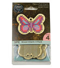 Cross Stitch Style 4 Pack Wood Charms-Butterfly