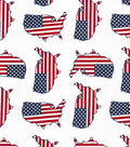 Patriotic Fabric-Flag In USA Tossed White