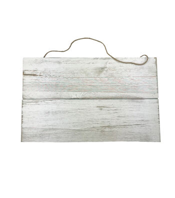 Wood 10x16'' Hanging Plank-White