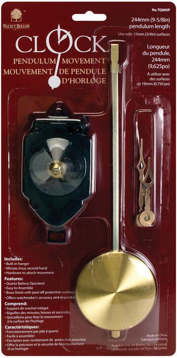 "Pendulum Clock Movement 9-5/8""-For 3/4"" Surfaces"