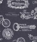 Snuggle Flannel Print Fabric 42\u0022-Paris Script