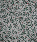 Holiday Decor Christmas Fabric-Foil Holly On Mesh