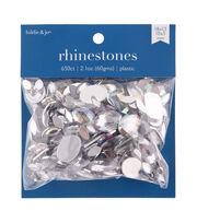 hildie & jo 650 pk Assorted Plastic Crystal Flat Back Rhinestones, , hi-res