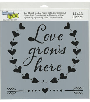the crafters workshop 12x12 stencil love grows