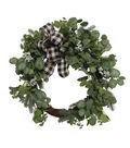 Blooming Holiday 24\u0027\u0027 Iced Eucalyptus & Buffalo Check Bow Wreath
