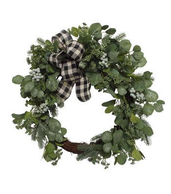 Blooming Holiday 24'' Iced Eucalyptus & Buffalo Check Bow Wreath