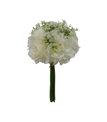 Fresh Picked Spring 12'' Rose & Baby's Breath Bouquet-White