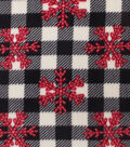 Anti-Pill Plush Fleece Fabric-Red Snowflakes On Buffalo Check Holiday