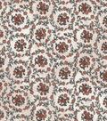Vintage Cotton Fabric 43\u0027\u0027-Orange Floral Circles on Ivory